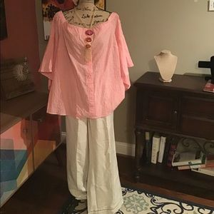 NWT Lane Bryant seersucker blouse and linen pants